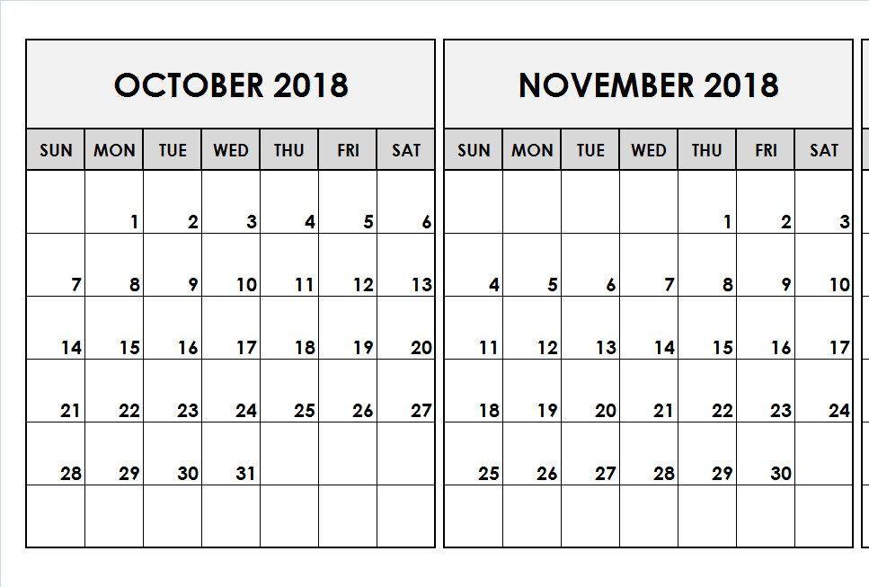 October November 2018 Blank Calendar February Calendar July