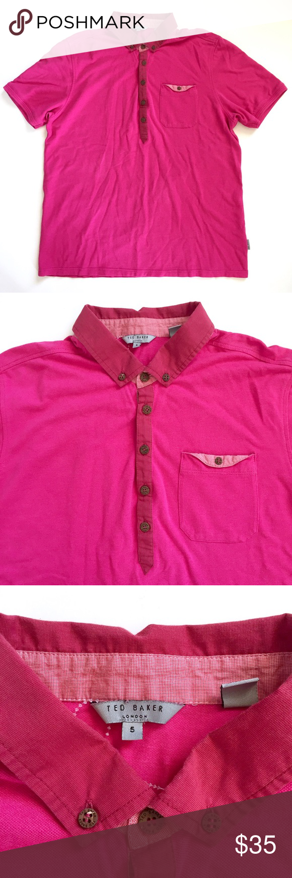 9a59d2756 Ted Baker Mens Magenta Pink Polo Shirt Size 5   XL Designed with a breast  pocket