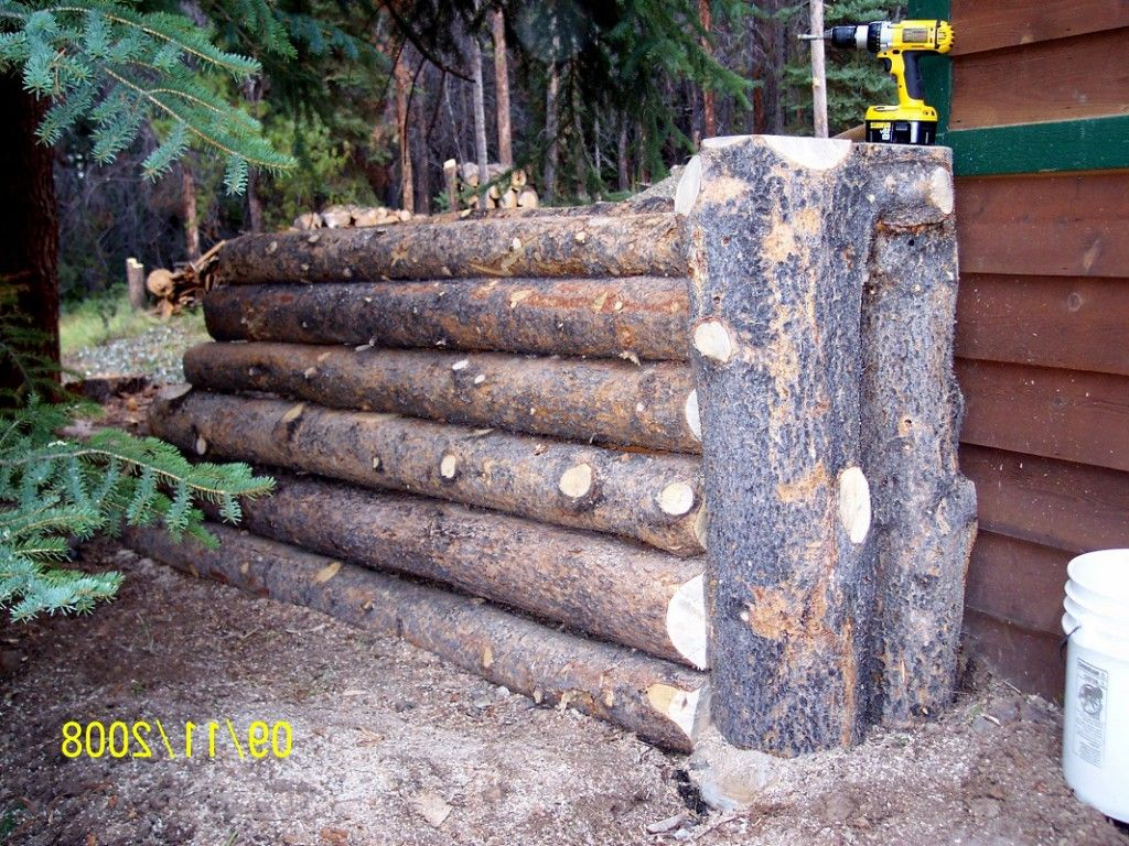 Outdoor landscaping timber retaining wall natural log for Log ideas