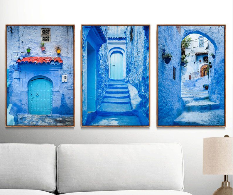 Pack Of 3 Printable Moroccan Wall Art Photos Chefchaouen Old Blue