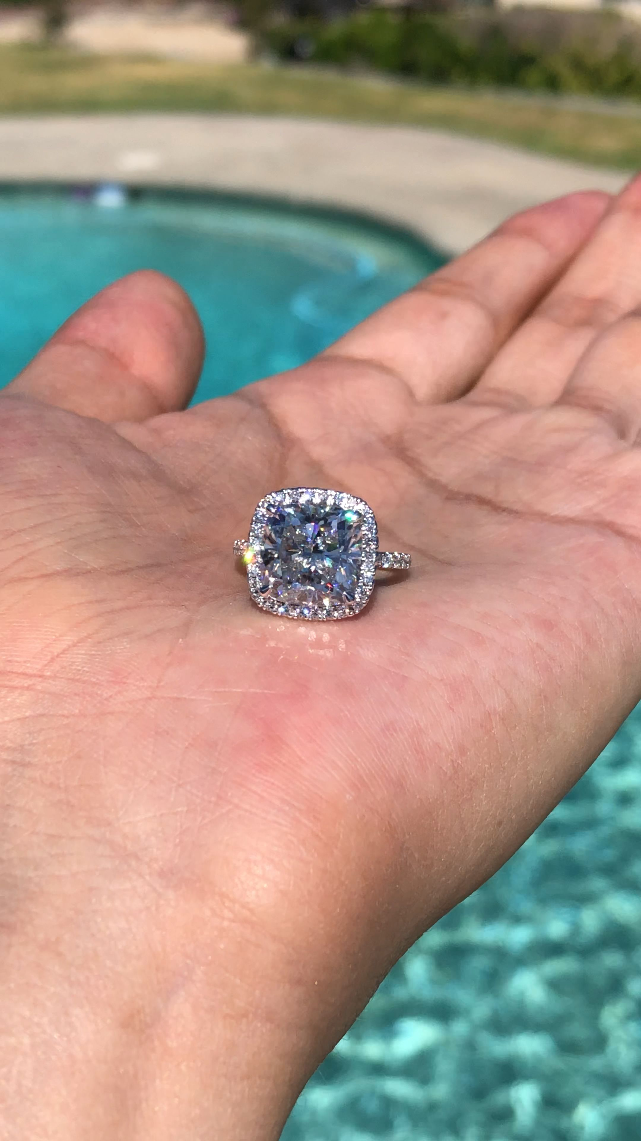 5 Carat Cushion Moissanite & Diamond Halo Engagement Ring