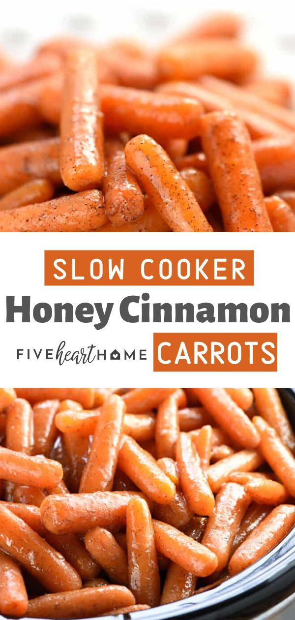 These Slow Cooker Honey Cinnamon Carrots are sweet, buttery, delectable, and totally addictive! It is the best slow cooker glazed carrots perfect as a side dish for any day, Thanksgiving, or holiday parties! Save this soft carrot recipe for later! #dinnersidedishes