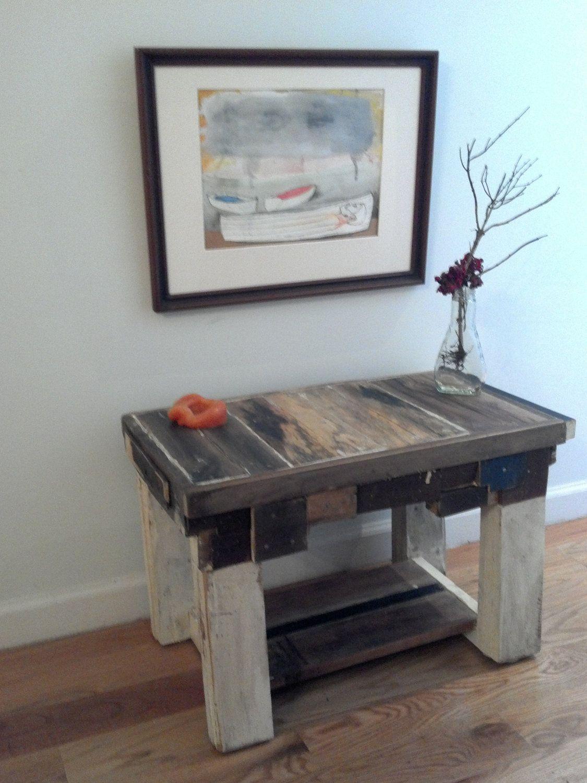 Handmade end table made of reclaimed wood.. $325.00, via Etsy.