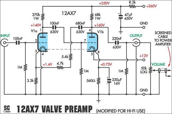 12ax7 preamplifier schematic electronics diy amplifier, valve12ax7 preamplifier schematic