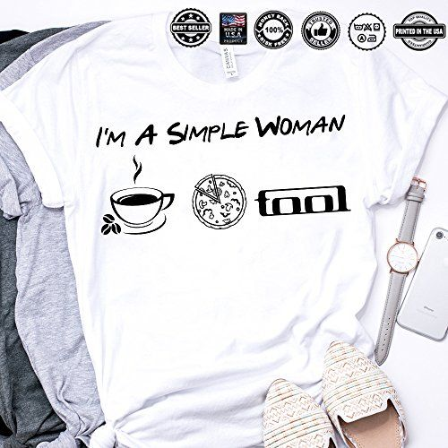 d83a08fb I'm a Simple Woman Coffee Pizza Tool Rock Band Customized Handmade T-Shirt