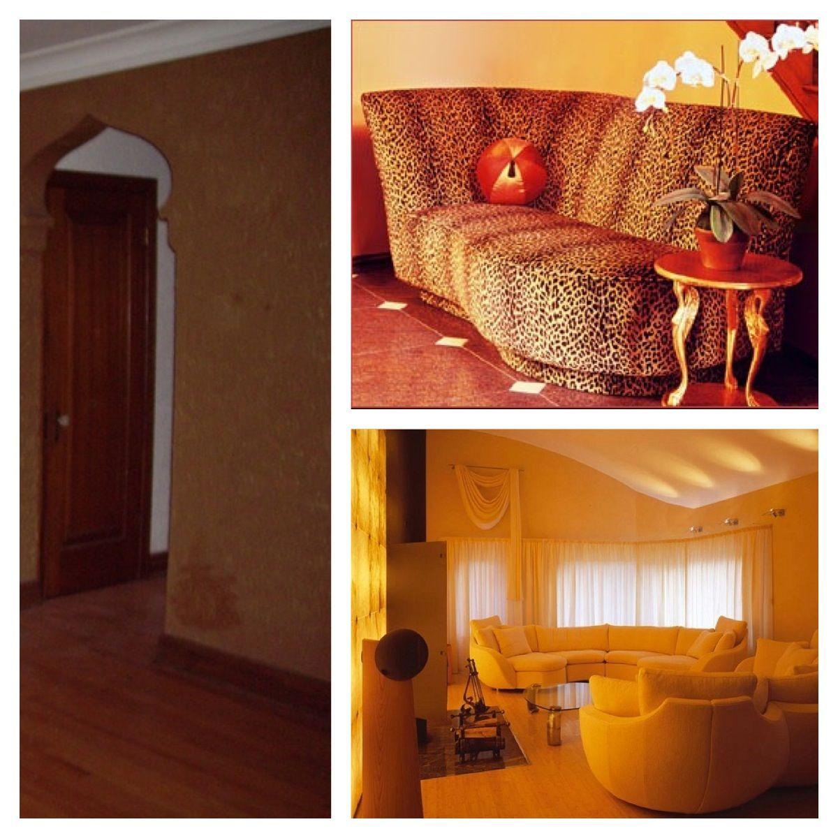 Living Room Leopard Print Vintage Golden Walls White Drapey