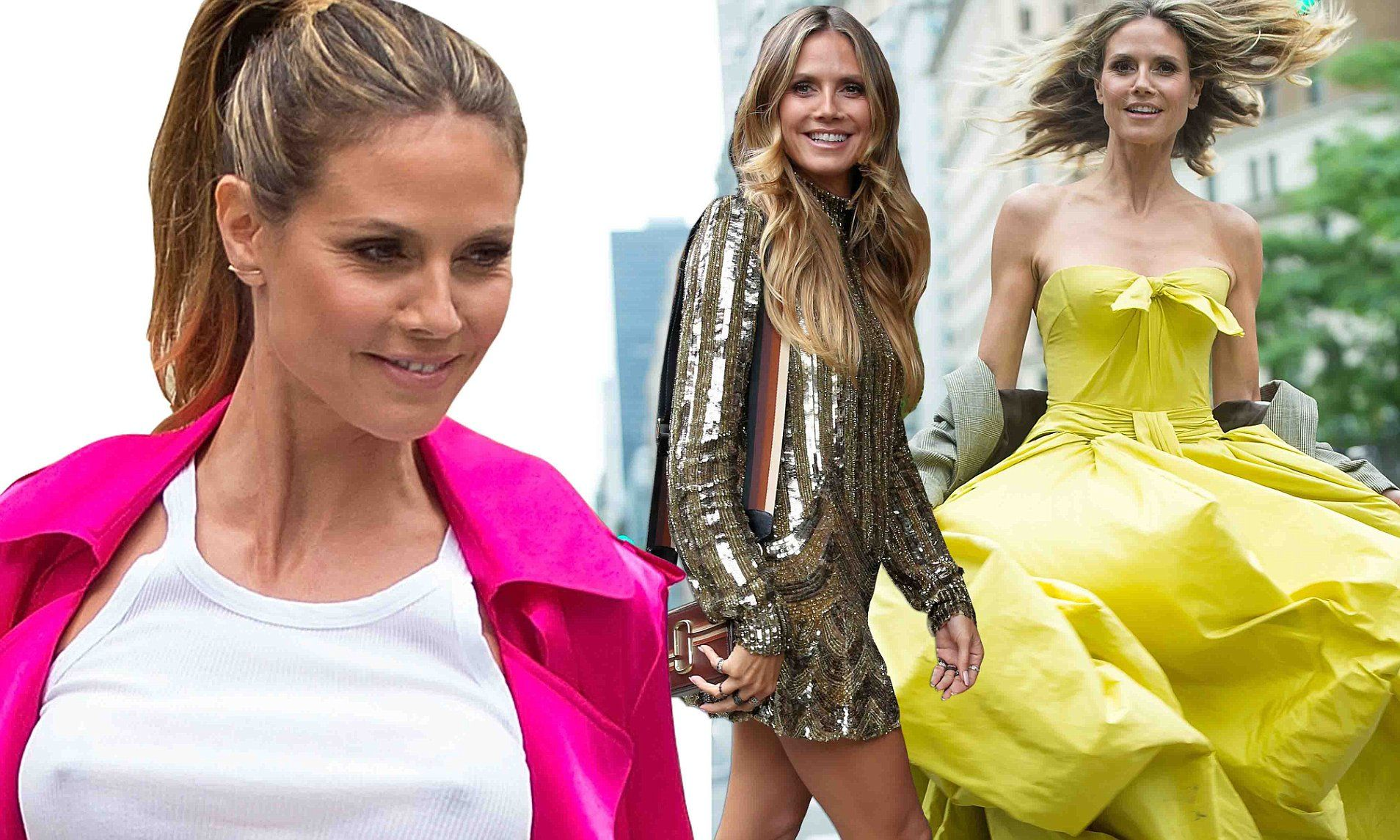 Heidi klum took to the streets of new york city to model a