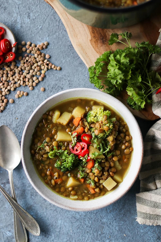 One Pot Veggie Lentil Soup In 2020 Veggie Lentil Soup Lentil Soup Whole Food Recipes