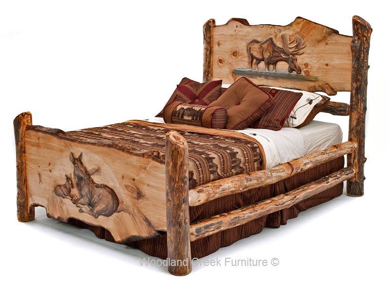 Carved Log Bed Cabin Furniture Lodge Bedroom Rustic In