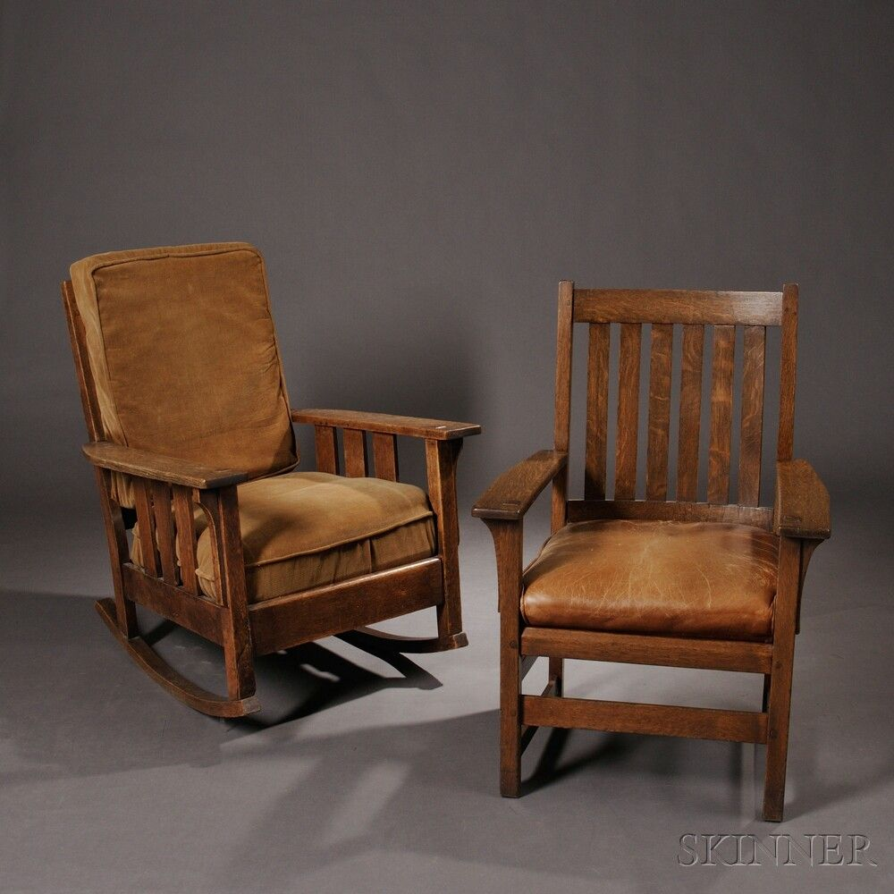 Ordinaire L. U0026 J.G. Stickley Armchair U0026 Oak Craft Rocker Oak, Leather, Upholstery The  Armchair W Six Vertical Back Slats, Straight Arms W Through Tenon Joints ...