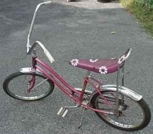 Old School Lowrider Bicycle Blue Glitter Banana Seat W//Strips Chopper Bike