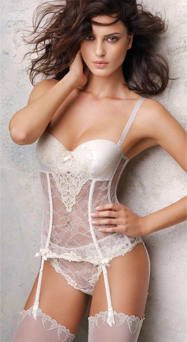 1eeda8549c Lingerie   Bustier with Matching  Panty and Thigh-High  Stockings ...