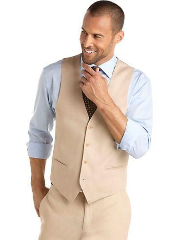 05793bdeb6fa Calvin Klein Sand Linen Separates Vest - Men s Wearhouse 59.99 ...