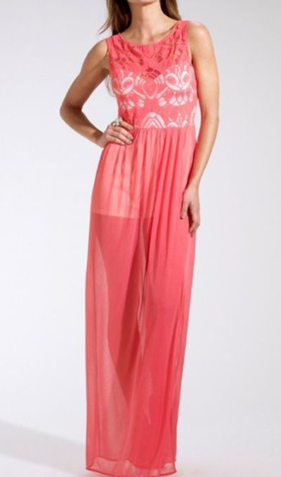 ♥ NEW Lipsy Coral Lace Top Maxi Dress Summer Playsuit 8 10 14 16 ♥ in Clothes, Shoes & Accessories | eBay