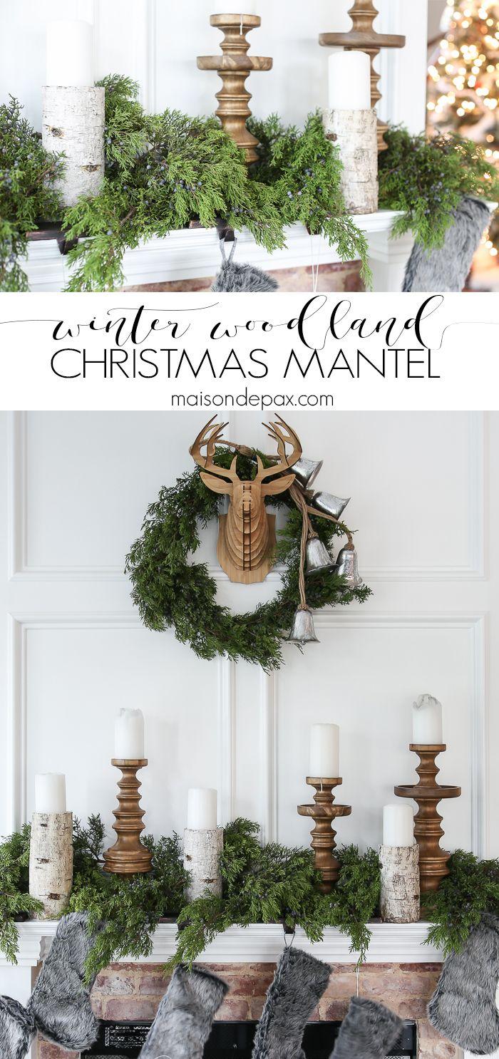 Winter Woodland Christmas Mantel | Deer mounts, Woodland christmas ...