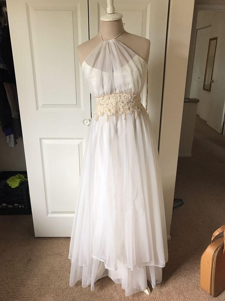 Vintage Off White Halter Lace & Chiffon Wedding Dress   1980s ...