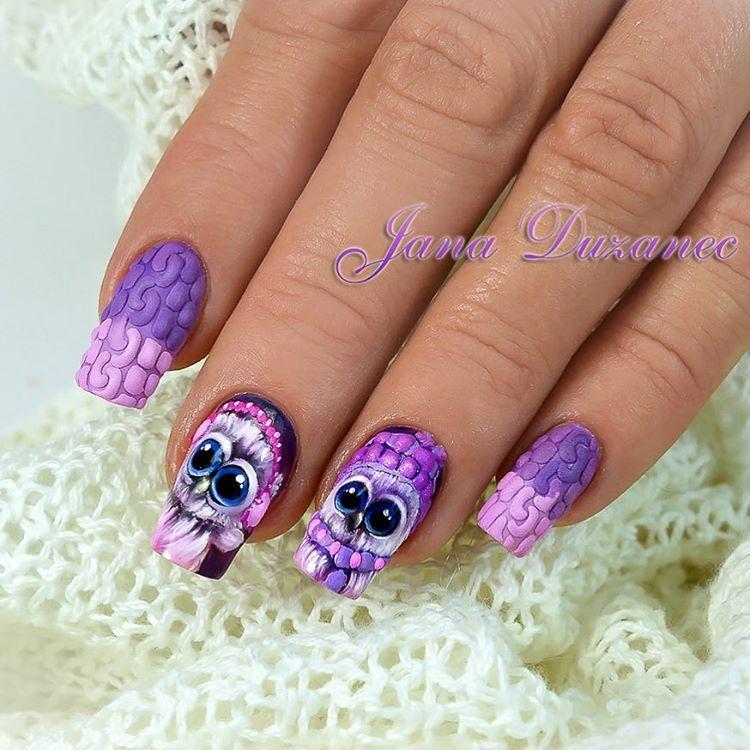 Knitted nails 😜 salon nails #jana #jananails #janaduzanec #christmasnailart #christmasnails #pastagel #gelpainting #gelpaint #gelpasta #owls #instanails #nailspro #nailswag #nails4today #nailstagram