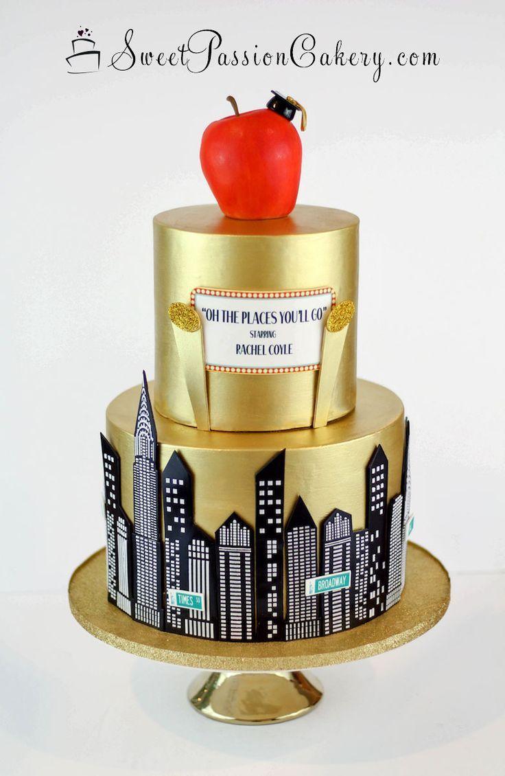 Gold nyc big apple graduation cake wwwsweetpassionc