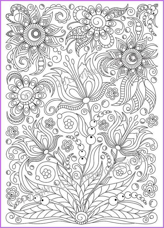 Сoloring page doodle flowers printable for adults, zen