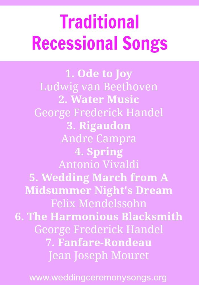 Recessional Songs Wedding Ceremony Songs Recessional Songs Ceremony Songs