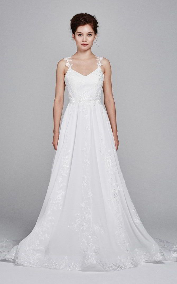 A Line Wedding Dresses Chiffon V Neck Aline With Fl Beaded Straps And Crystal Embroidered