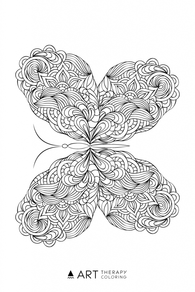 Free Butterfly Coloring Page for Adults | Coloring pages | Pinterest ...