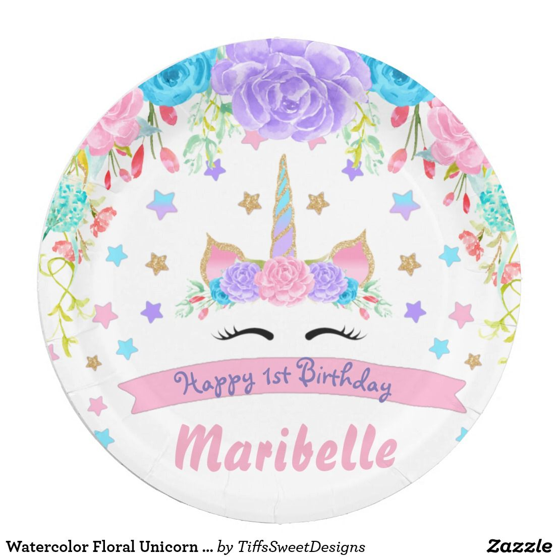 Watercolor Floral Unicorn Face Birthday Party Paper Plate  sc 1 st  Pinterest & Watercolor Floral Unicorn Face Birthday Party Paper Plate | Unicorn ...