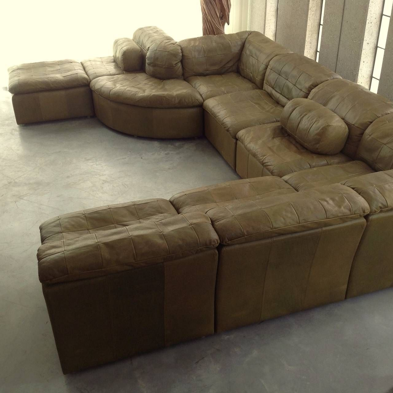 Olive Green Leather Sectional Sofa | wolf decor | Leather sectional ...