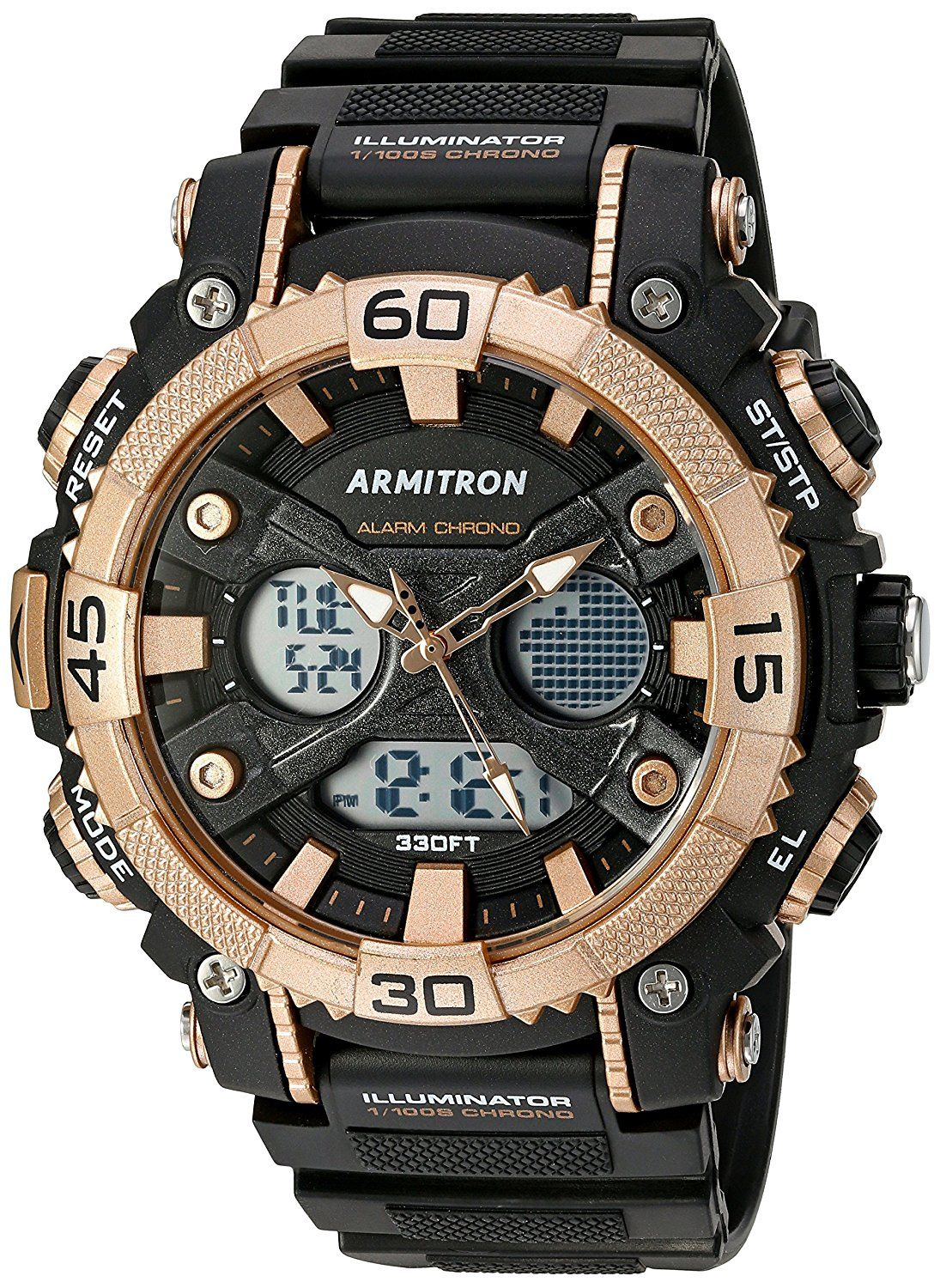 8e310f257 Armitron Sport Men's 20/5108BRG Analog-Digital Chronograph Rose Gold-Tone  and Black Resin Strap Watch >>> Read more at the image link.