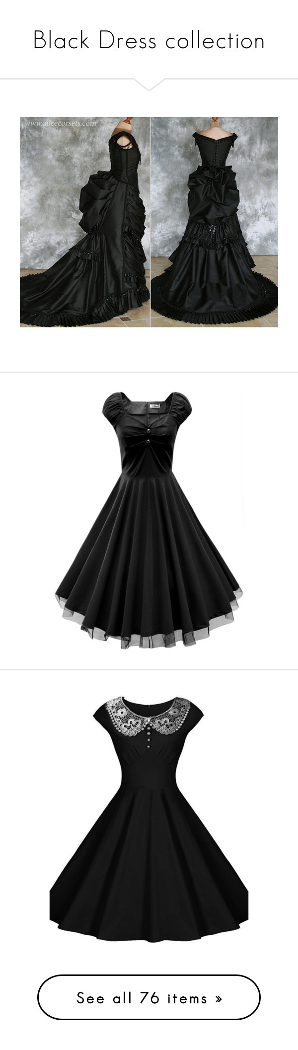 """Black Dress collection"" by thesassystewart on Polyvore featuring costumes, steam punk costume, black costume, victorian vampire costume, vampire halloween costumes, goth costume, dresses, retro rockabilly dress, vintage lace cocktail dress and retro style dresses"
