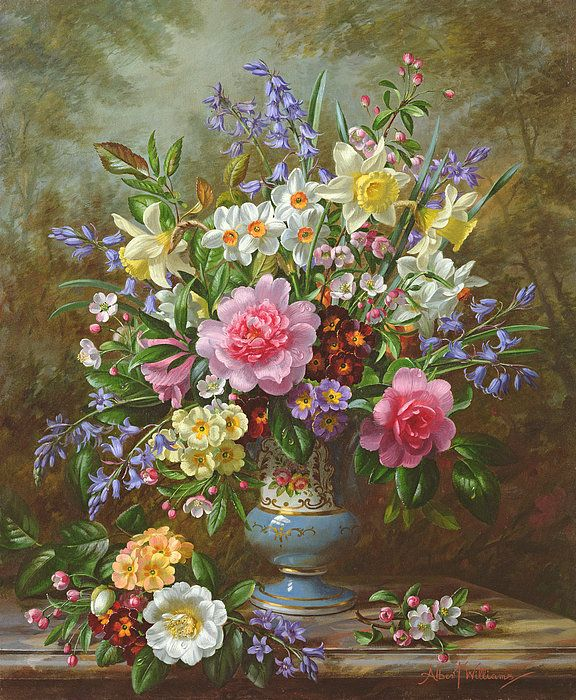 Bluebells Daffodils Primroses And Peonies In A Blue Vase Print By Albert Williams