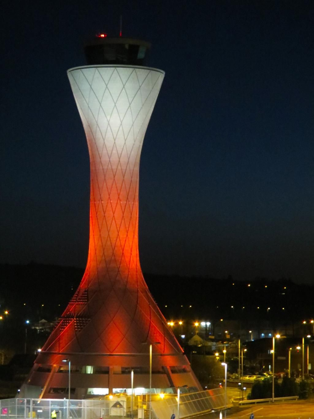 Control Tower at Edinburgh Airport has been lit in orange & Edinburgh Airport on | Edinburgh Tower and Architecture
