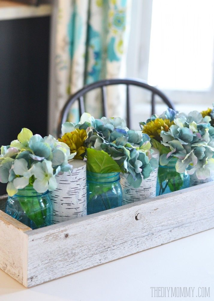Rustic Spring Planter Box Centerpiece With Mason Jars Amp Hydrangeas Planter Box Centerpiece