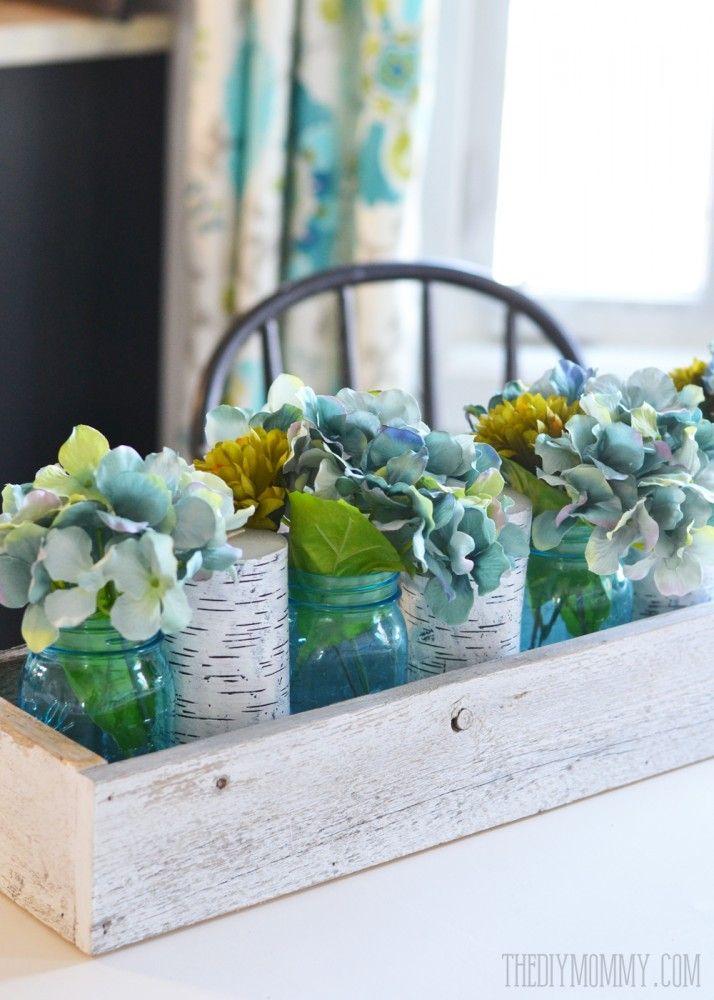 Rustic Spring Planter Box Centerpiece With Mason Jars