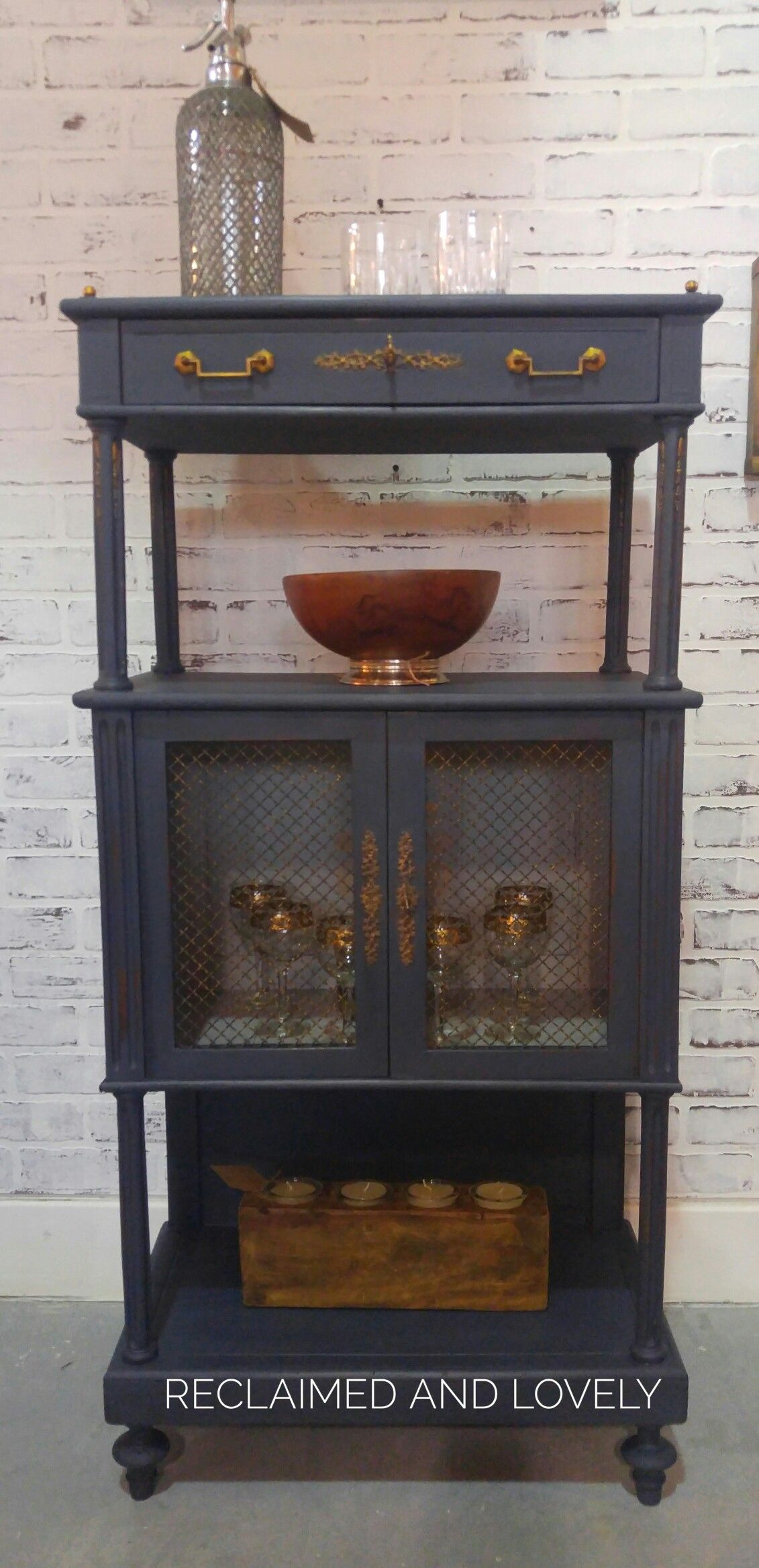 Victorian whatnot cabinet turned into a bar..Graphite and ...