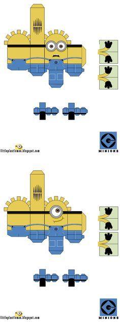 minions papertoys template  Activités Minions (coloriage, printable, paperptoys, bricolage, ...) http://www.papa-blogueur.fr/occuper-les-enfants-pendant-les-vacances-semaine-1-les-minions