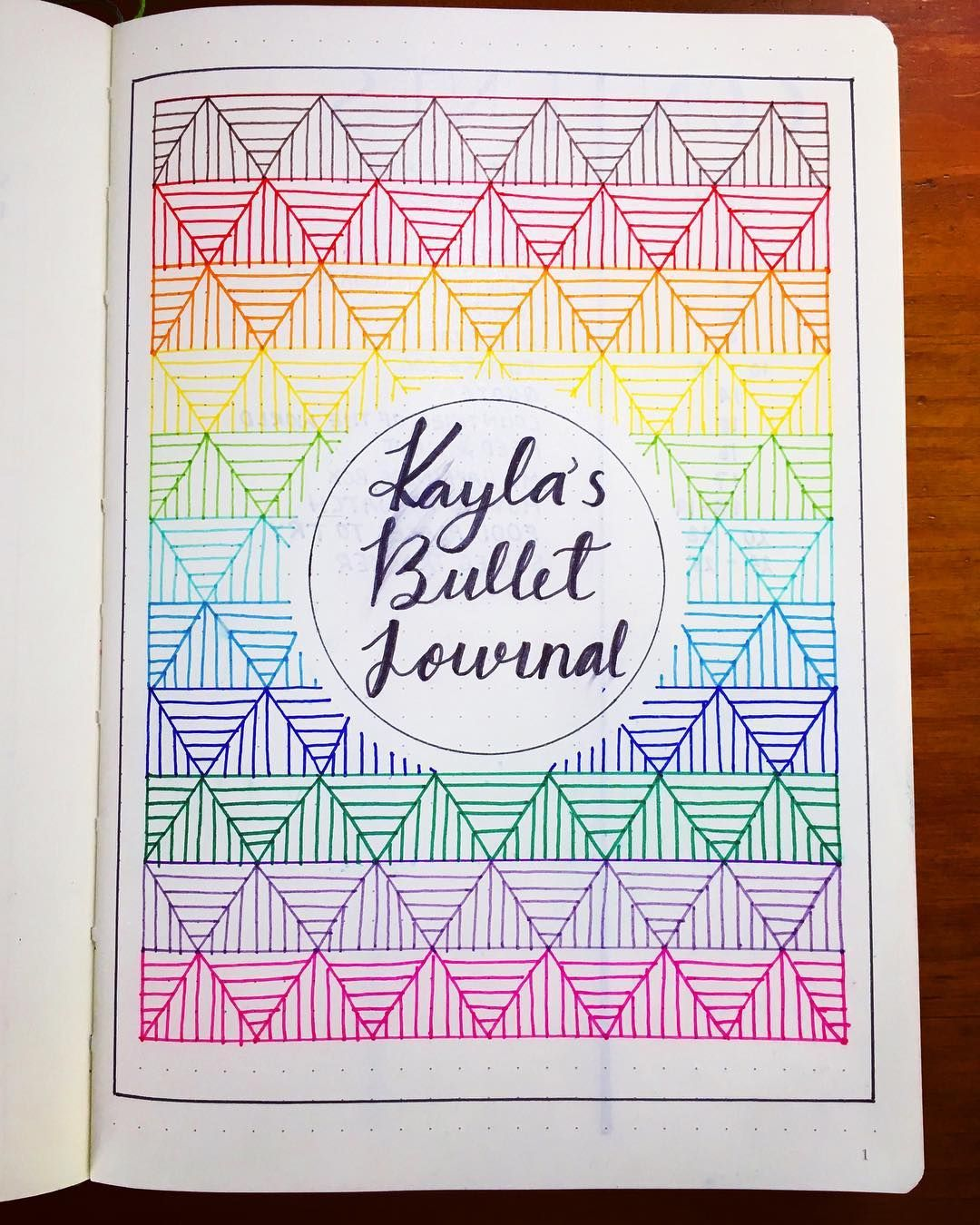 bullet journal cover page geometric drawings bujoboo