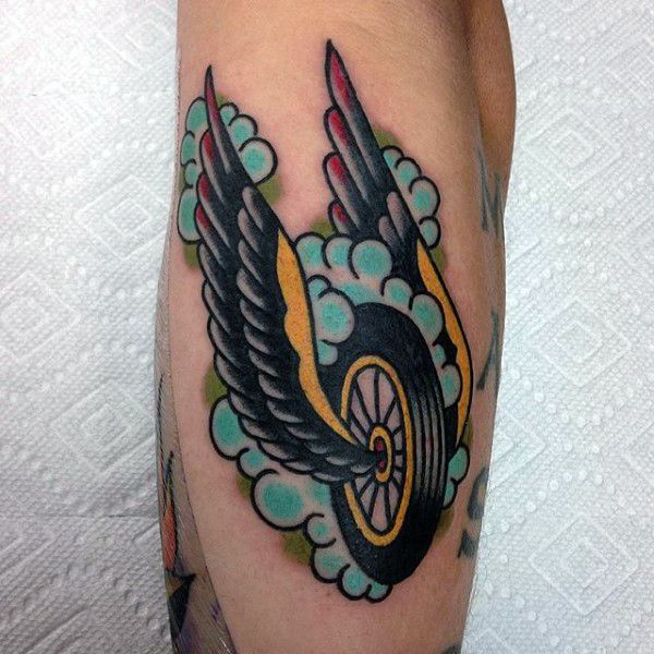 Guy with motorcycle tattoo small design zap zap for Traditional motorcycle tattoo
