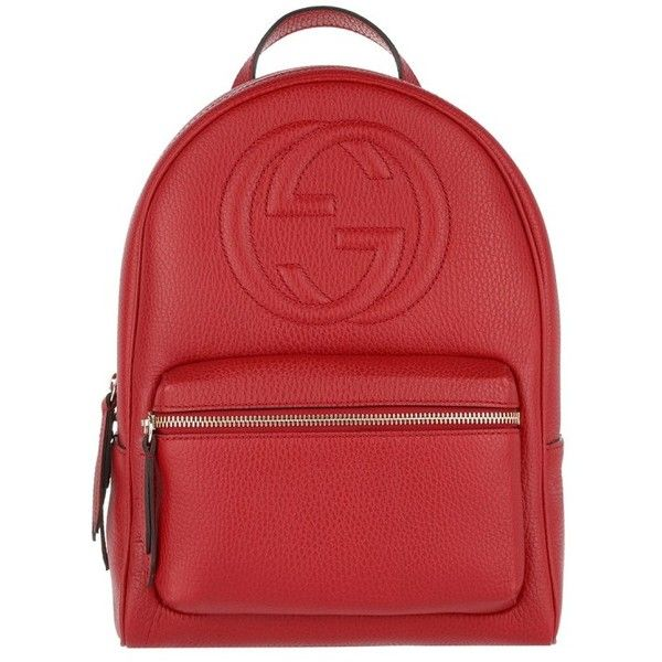 6f1278961fc2 Gucci Shoulder Bag - Soho Backpack Grained Leather Hibiscus Red - in...  ($1,650) ❤ liked on Polyvore featuring bags, red, gucci, handle bag, full  grain ...