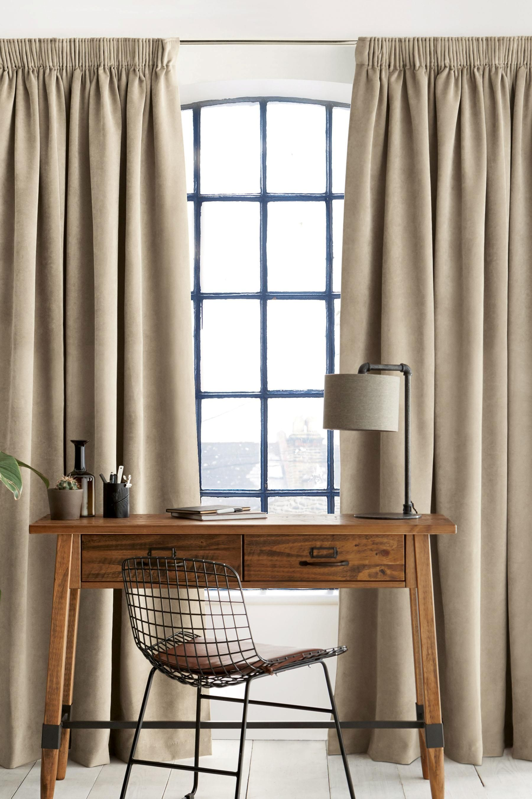 Buy Soft Velour Multi Header Lined Curtains from the Next