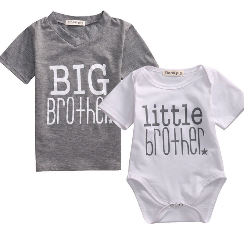 Infant Toddler Newborn Baby Boys T Shirt Romper Family Matching Outfit Jumpsuit Clothes Big Matching Family Outfits Big Brother Little Brother Baby Boy T Shirt