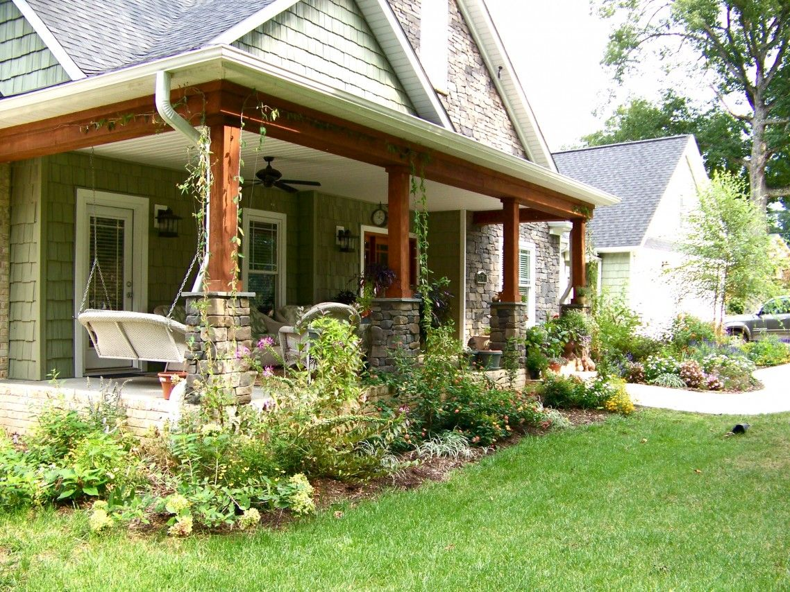 astounding front deck ideas for ranch style homes. Home  Apartment Front Porch For Modern Ranch Without Railings Natural Stones Base Pillars Hanging Chair And A Set Of Outdoor Furniture Ceiling Fan Green Plants In Brown Wooden Poles With Gray Stone