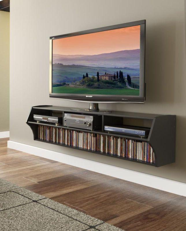 Black 58 Wall Mount Floating Tv Stand Altus Plus Shelf Media Storage Ez Hangpp Ebay Floating Tv Stand Floating Tv Console Floating Entertainment Center
