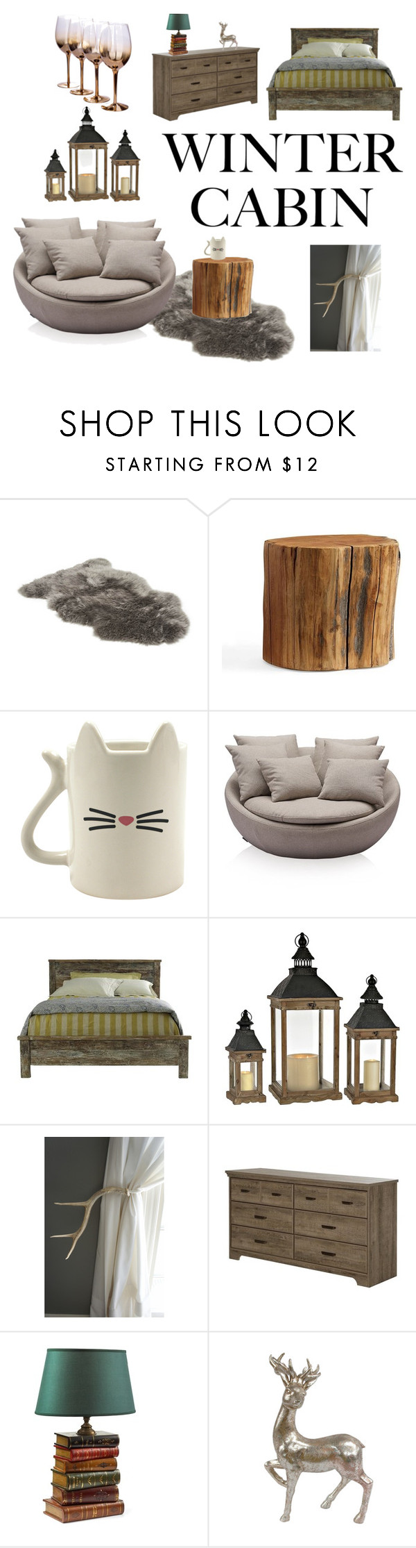 """Walking in a Winter Wonderland"" by ncolasante ❤ liked on Polyvore featuring interior, interiors, interior design, home, home decor, interior decorating, UGG, Pottery Barn, South Shore and cabinstyle"