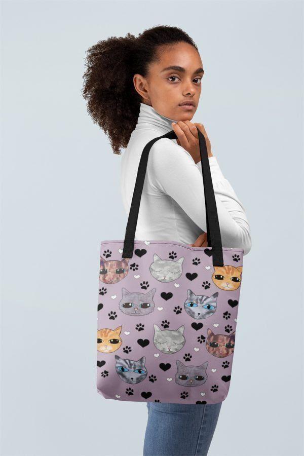 Cute Kitty Cats Print Tote Bag in Purple  Kitty Cats Joy Cute Purple Cat Print Bag  designed by artist Helen