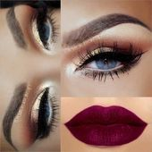 43 Christmas Makeup Ideas to Copy This Season | StayGlam  Sparkly Gold Eyes + Matte Purple Lips    This image has get 1 repins.    Author: Mary Papazi…