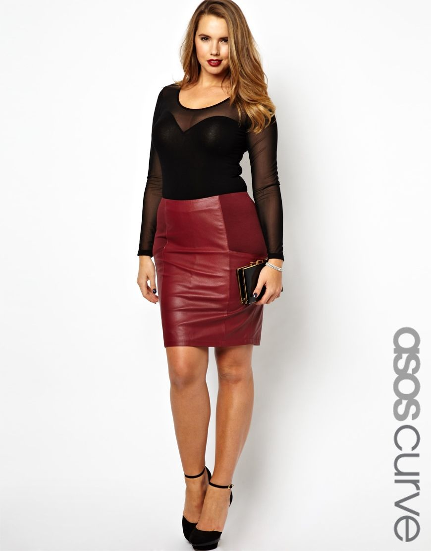 ASOS CURVE - Pencil Skirt In Leather