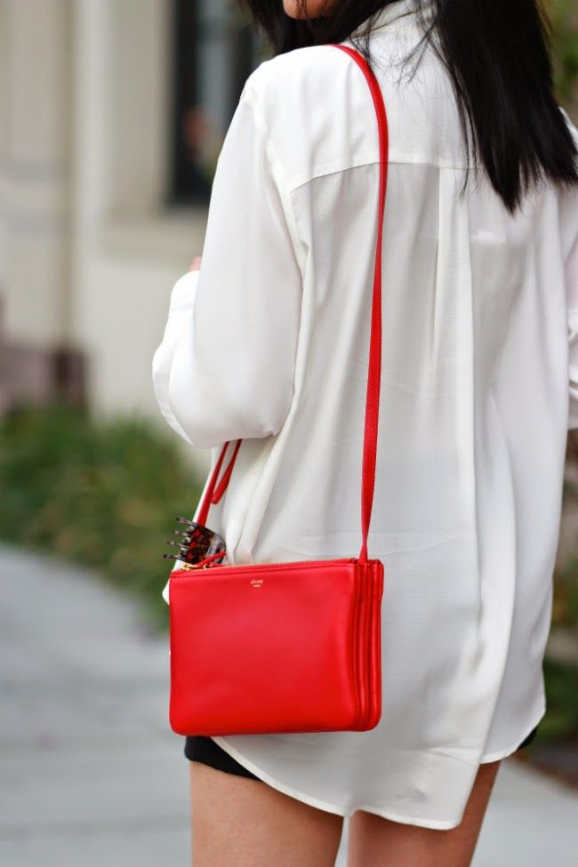 7f6fb74477 Celine red trio. The perfect lipstick red bag