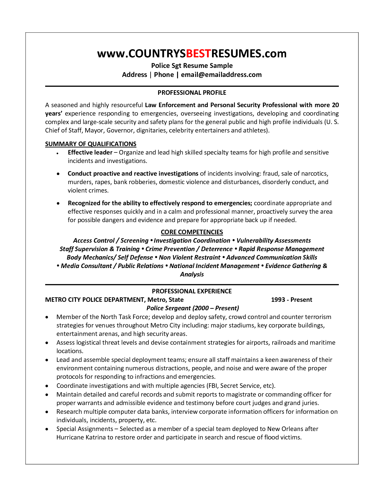police officer resume sample httpwwwresumecareerinfopolice - Police Resume Examples