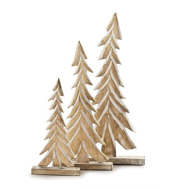 Wood Tabletop Christmas Trees | Balsam Hill (475 CNY) ❤ Liked On Polyvore  Featuring